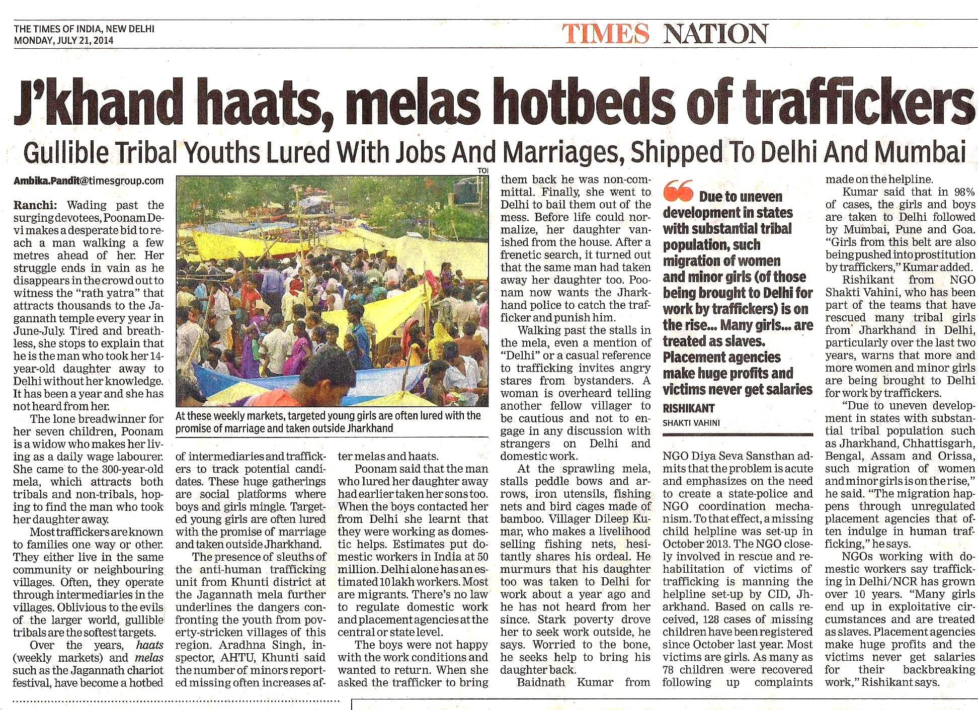Times of India Article on Human Trafficking from Jharkhand